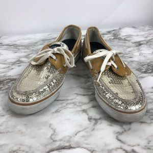 Sperry Gold Sequins Women's Boat Shoes Size 8M
